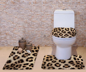 Ensemble de tapis de couverture de toilette grain 3D Leopard Flannel salle de bains tapis antidérapant sur piédestal + couvercle couvercle de toilette + tapis de bain ensemble lavable