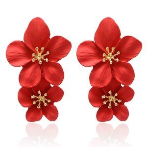 Korean New Red Pendants d'oreilles Déclaration double couche Fleur Boucles d'oreilles pour Bijoux Femmes Mode Brincos Aretes De Mujer