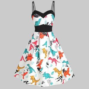 Vintage Summer Holiday Fashion Dress Dress Casual senza maniche Vintage Dinosauro Cami Impero Vita Swing Party Dress veste femme
