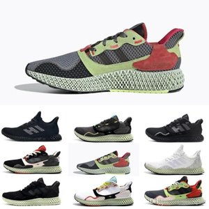 New Sale Yellow and Crimson Accents Mens ZX 4000 Futurecraft 4D Running Shoes Trainers for Men ZX4000 Carbon Male Sports Trainer Sneakers
