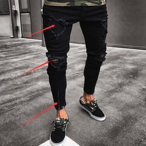 Мужская Прохладный Конструктор Black Jeans Тощий Ripped разрушаемый Изношенные Stretch Slim Fit Black Hole повседневные брюки карандаш Бесплатная доставка