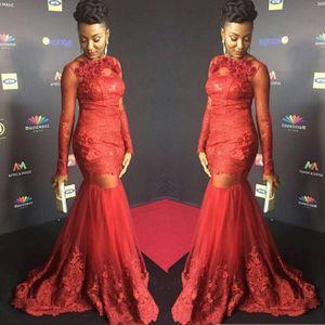 Red Star Cylinder manches longues sexy robe de bal Applique dentelle africaine sirène robe de soirée Plus Size Sheer Corsage