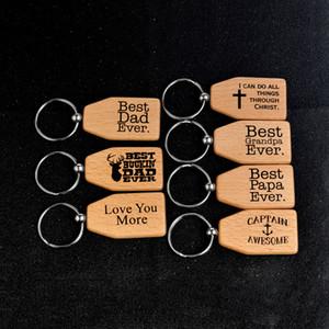 Melhor Tag pai nunca Key Rings Madeira Pingente Chaveiros Papa Grandpa Love Letters Chaveiro metal Chaveiro DIY Jóias Presentes para Dia dos Pais