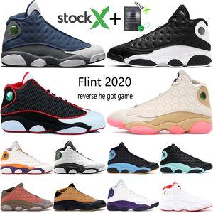Nueva pedernal inversa Una mala jugada zapatos de baloncesto de Jumpman 13 13s Chris Paul corte lejos púrpura CNY hombre bajo chutney formadores zapatillas de deporte de las botas