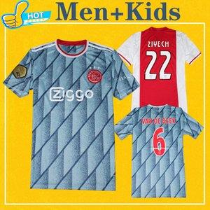 Uomo Bambini ajax 2021 Maglia lontano maglia AJAX Kit Soccer Jersey TADIC VAN DE BEEK ZIYEC HUNTELAAR PROMES 20 21 Football Shirt