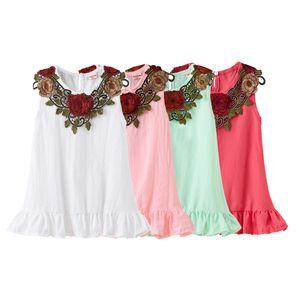 Детская одежда девочек Роза вышивка платье детей Цветы рукавов принцесса платья 2020 лето мода бутик одежды младенца