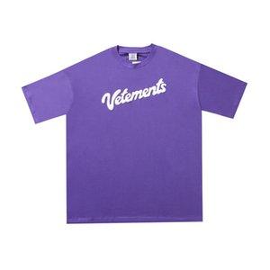 2020 Luxury Europe France Vetements Фиолетовый Большой Логотип Вышивка Футболка Мода Мужские Дизайнерские Футболки Женская Одежда Повседневная Хлопчатобумажная Футболка