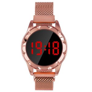 red LED fashion lazy mesh Magnetic belt dress watches for leisure ladies women digital clock wrist watch