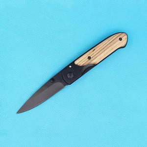 DHL Fast Shipping Butterfly da44 survival Pocket folding knife wood handle black Titanium finish Blade tactical EDC Pocket knive