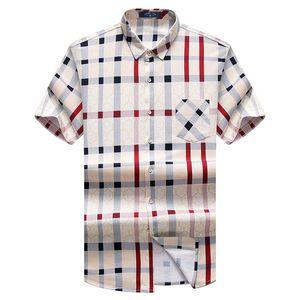 Nouvelle approche courte jupe 2017 haute qualité été courte chemise en coton hommes Casual Shirt imprimé chemise de carrière Y19071301