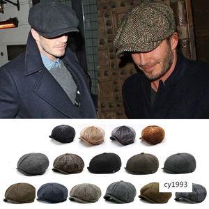 Warm Woolen octagonal large size newsboy beret big head cap outdoor men's and women's painter hat