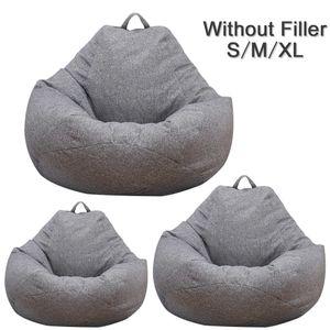Dolgu Keten Bezi Lounger Koltuk Bean Bag Pouf Puff Couch Tatami Living Room olmadan Büyük Küçük Tembel Kanepeler Kapak Sandalye