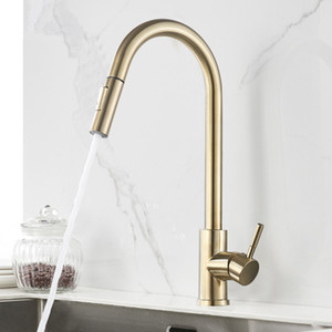 Pull ouro escovado torneira da cozinha água quente e fria Faucet Para Cozinha Out Mixer Guindaste 2 Função Bico de água Mixer