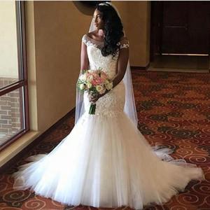 2020 Plus Size Robe de mariée sirène Sheer Bateau cou dentelle Tulle Jupe appliques Personnalisées robe de mariée 50% de réduction