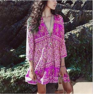 Sexy Womens Designer-böhmisches Kleid Sommer mit V-Ausschnitt Ruffer Kleid lose Flora Printed Strand-Kleider