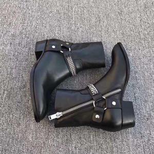 Hombres de vestir Cadenas de la venta caliente Moda Wyatt motorista de las botas del tobillo Zapatos para hombre de punta estrecha hebilla Botas Hombre Zapatos de cuero de Brown zapatos de los cargadores de los hombres