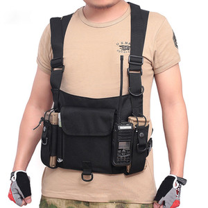 Outdoor Tactical Nylon Vest Bag Army Chest Rig Pack Holster Walkie Talkie Radio Waist Pack Pouch