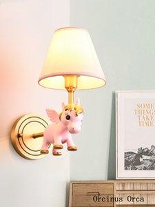 Kız Yatak Odası Çocuk Odası Amerikan Bakır LED Wall Karikatür Yaratıcı Renk Pony Duvar Lambası Abajur