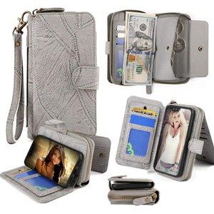 아이폰 XS 최대 자기 분리 2에서 1 지퍼 지갑 케이스와 핸드 스트랩 돈 포켓 클러치 커버 지갑 지갑 케이스