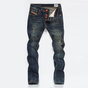 Vintage Erkek Düz Kot Düğme Cep Tasarımcı Erkek Pantolon Moda Distrressed Gençler Jeans Erkek Giyim Yıkanmış