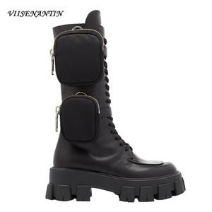 VIISENANTIN 2019 späteste Art-neue Ankunfts-Taschen-Motorrad-Boots Stattliche Lace Up Thick-soled Schwarz Militär Schuhe Stiefeletten T200106