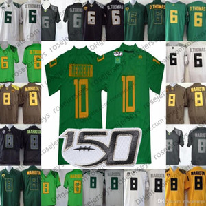 2019 NCAA 150TH Oregon Ducks # 10 Justin Herbert Apple Green Jersey 8 Marcus Mariota 21 Royce Freeman White Black Yellow Pink Football Men's