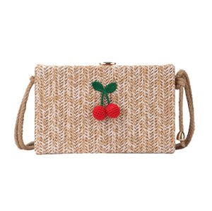 Borse Donna Cherry Straw Borse a tracolla Sweet Borse Casual Crossbody Bag Spring Summber Mini Cute Knitting Bag DK95
