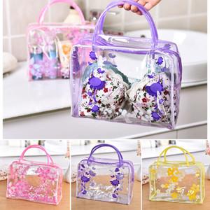 Прозрачная косметическая сумка с цветочным принтом для туалетных принадлежностей Водонепроницаемая прозрачная ПВХ сумка для хранения косметики на молнии
