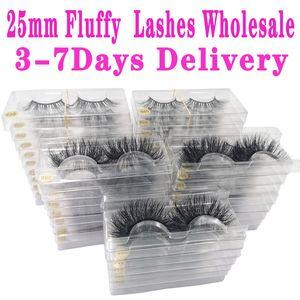 Wholesale mink cils 25mm cils moelleux désordonné 3D faux cils dramatiques longs cils naturels de gros maquillage mink cils