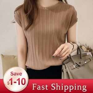 2020 Summer Ice Silk Tricoté Tops manches courtes Bureau Solid Slim brillant Lady travail soie Chemises causales coréenne Slim Knitwear