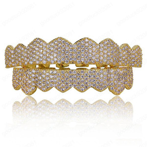 Hip Hop Jewelry Mens Diamond Grillz Teeth Personality Charms Gold Iced Out Grills Fashion Rapper Men Fashion Accessories