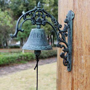 Grande Campainhas Wall Mount verde escuro ferro fundido WELCOME Jantar Home Decor Vintage Bell tapeçarias Outdoor Jardim ornamentos Retro Vintage