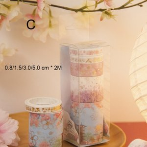 2016 Cherry Blossoms Gold Stamping Series Two Paper Tapes Mini Portable Adhesive Tapes Decorative Beautification Album Diary