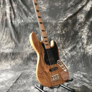 Новый высокого качества 4-струнный ручной джаз Электрическая бас-гитара, изготовленный на заказ gitaar, натуральный цвет древесина Guitarra