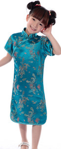 Filles du Dragon Phoenix Chinese Dress cheongsam manches courtes bleu ciel
