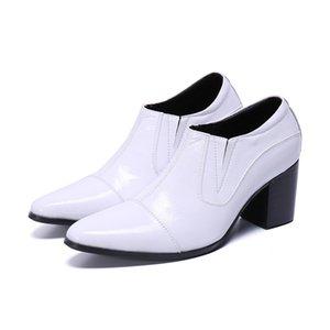 Белая кожа Ботильоны Остроконечных Toe Формальной кожи Ботильоны Мужчина White Wedding Boots Men партия 7CM Высокие каблуки!