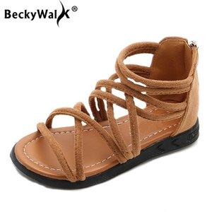 Beckywalk Roma Style Filles Sandales D'été À Bout Ouvert Plage Filles Chaussures Cross Strap Enfants Sandales Fille Bébé Chaussures 3 Couleurs Csh613 Y19051303