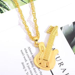 Музыка гитара ожерелье для мужчин ювелирных изделий тона серебра / золота цвет Mens желтого золота гитара кулон ожерелье Hip Hop Ювелирные изделия