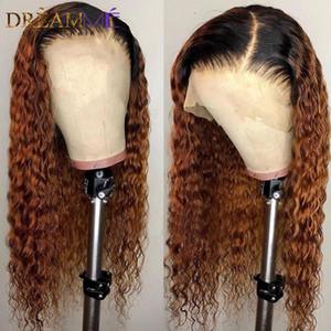 Natural longa sintética Ombre rendas frente Wigs com bebê carapinha Curly Pré arrancada brasileira cheia peruca para áfrica mulheres americanas