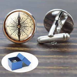 Compass Manchette Vintage Compass Horloge Bateau à voile alliage Motif Boutons de manchette pour hommes en verre Cadeau (ne est pas une véritable boussole)