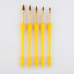 5 Tamaños de uñas de arte calabaza cepillo cristal tallado Constructor pluma Extremidades del dibujo flor de la pintura polaco ULTRAVIOLETA del gel de acrílico de la manicura del sistema de herramientas