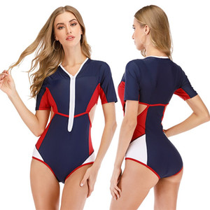 Designer Bikini Swimwear Surf Anzug Frauen Kurzarm Tauchen Anzug Ausgeschnittene Front Reißverschluss Badeanzug Sexy Frauen One Piece Schwimme Lilj