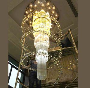 Dia100 * H240cm grande cristalina moderna iluminación de la lámpara de luz Escalera Lustre Hotel Villas Living colgante lámparas del pasillo del hotel Accesorios