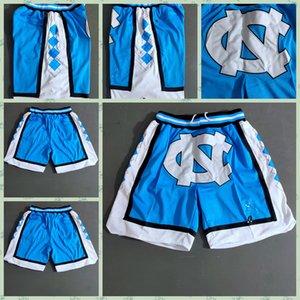 Mens GERADE DON Taschen-Basketballshorts Retro genähtes NCAA Blau Weiß North Carolina Taschen-Shorts Mesh-Futter Sports Taschen Sweatpants1