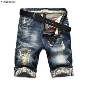 Airgracias New Fashion Uomo Strappato Jeans corti Marchio Abbigliamento Bermuda Estate 98% Cotone Pantaloncini traspirante Denim Pantaloncini Uomo Y190508