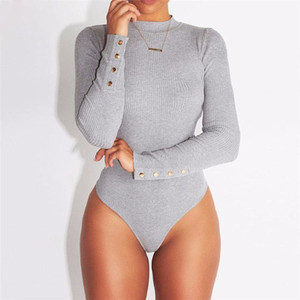 Sexy Women& 39;s Jumpsuit Long Sleeve Stretch Bodysuit Blouse Leotard Top T-shirt