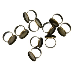 10 Pieces 18 milímetros anel ajustável internos vazios moldura Configurando a bandeja Base para Cameo Cabochons Pérolas Antique Bronze Descobertas jóias anel