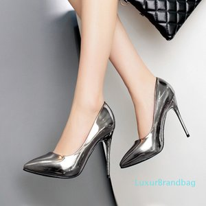 Pretty2019 Fine Long-term Women's Shoes Sharp High With Single Shoe Patent Leather Autumn