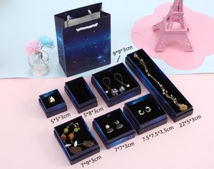 10pcs Starry Sky New Boîte à bijoux bleu foncé Boîte à bijoux sac-cadeau anneau de gros spot Porous Emballage Fournitures Coffrets Cadeaux Party