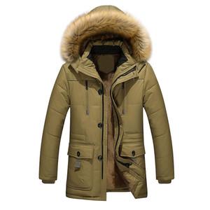 Erkekler Rüzgar Geçirmez Düz Renk Faux Fur Yaka Kapşonlu Kış Parkas Ceket Kalınlaştırmak
